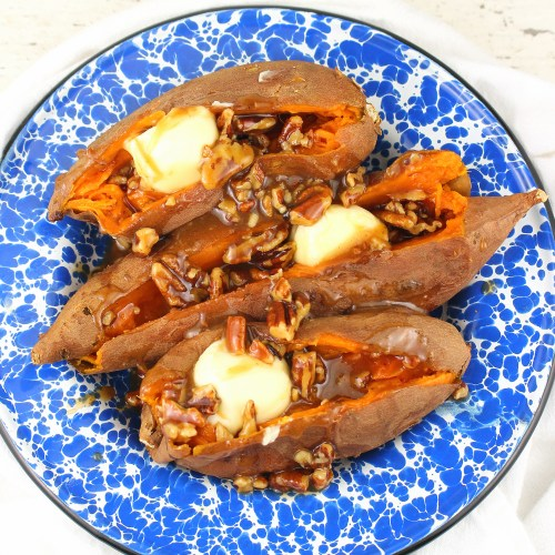 Roasted Sweet Potatoes with Praline Syrup