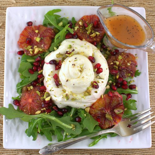 Burrata Salad with Blood Orange, Pistachio and Pomegranate