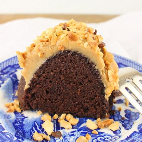 Low Sugar Chocolate Peanut Butter Bundt Cake