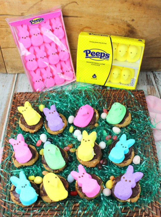 Marshmallow S'Mores Cookies with Peeps