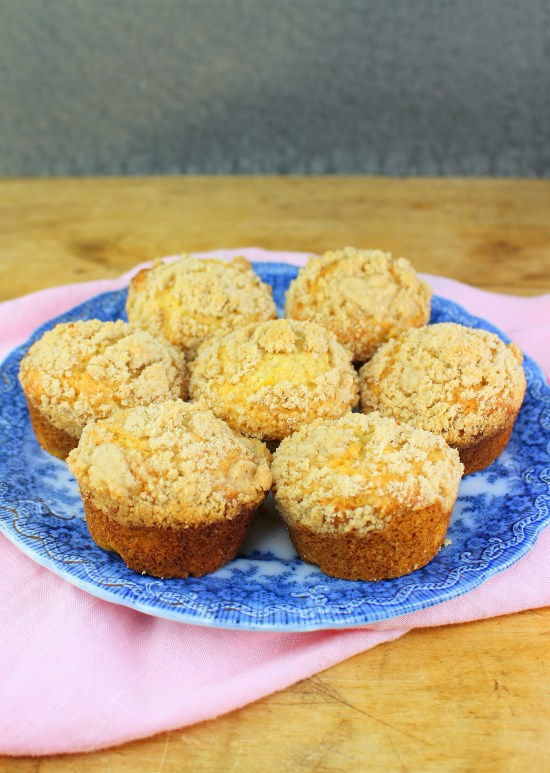Crumb Topped Peach Muffins