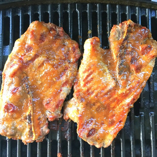 peach habanero barbecued pork steaks