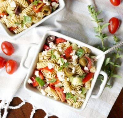 SImple Greek Pasta Salad by The Baking Fairy