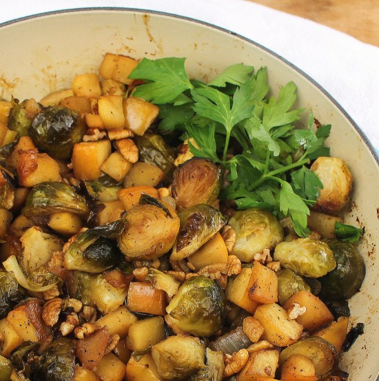Roasted Brussels Sprouts with Apple and Pecan