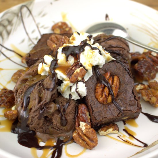 Bourbon Fudge Brownies with Spiced Pecans Sundae