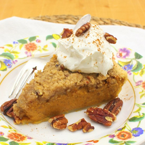 Pecan Streusel Pumpkin Pie