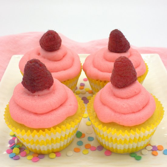 Lemon and Raspberry Mascarpone Cupcakes
