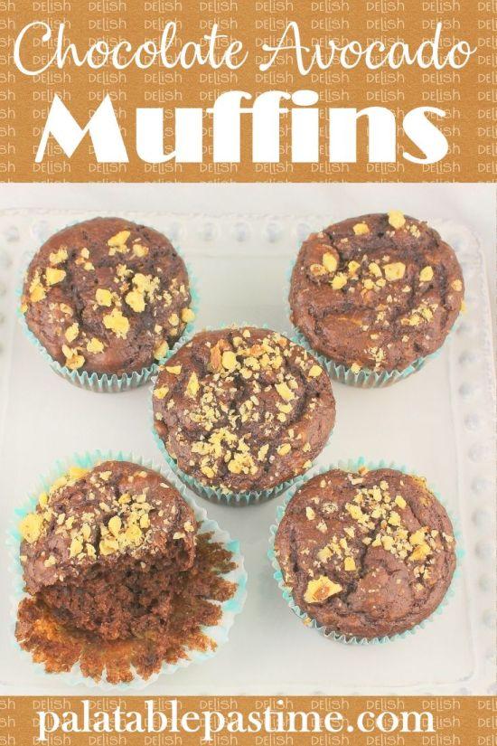 Chocolate Avocado Walnut Muffins