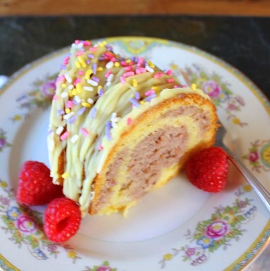 Lemon Raspberry Marbled Bundt Cake