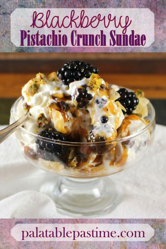 Blackberry Pistachio Crunch Sundae