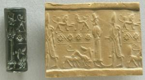 Sello-cilindro. Rei diante a gran deusa síria. c.s.XVIIIa.c.