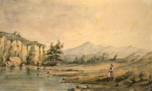 Paesaggio acquerello su carta  Palazzo Blu