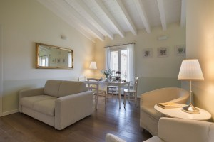 A view of the living room of our Apartment 6D at Palazzo Scolari