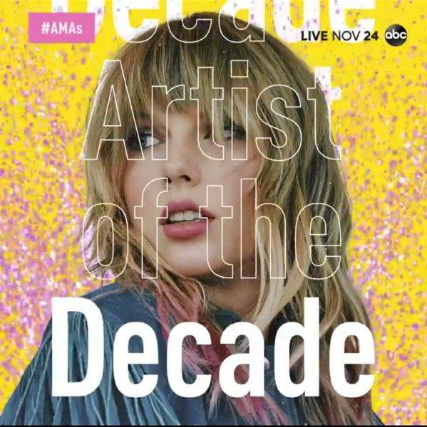 Taylor receberá premio dos AMAs por artista da decada.
