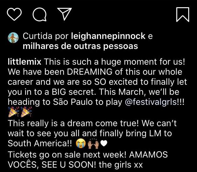 Little Mix afirma que show no Brasil é um sonho realizado.
