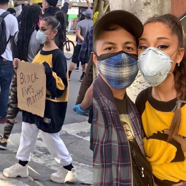 Ariana Grande e o namorado na marcha do Black Lives Matter