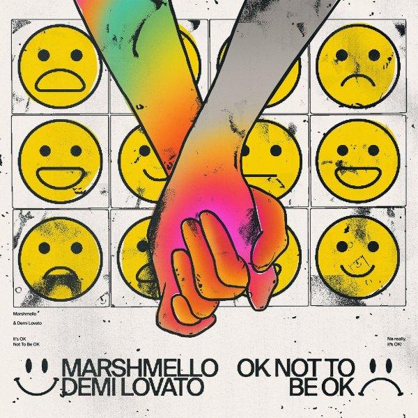 """Capa do single """"Ok Not Be Ok"""" de Mashmellow com Demi Lovato"""