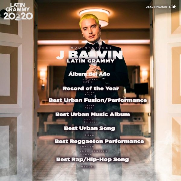 J Balvin recebe 13 nomeações no Grammy Latino