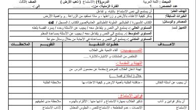 صورة إعداد دروس رائع لمبحث اللغة العربية الفصل الأول الصف الثالث