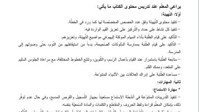 صورة دليل رائع لتنفيذ مبحث اللغة العربية الفصل الأول الصف الأول