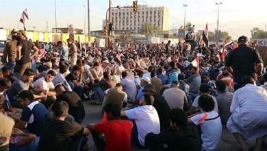 صورة احتجاج 200 عراقي عند حقل السيبة للغاز