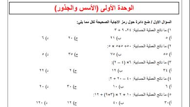 صورة المادة التدريبية الرائعة لمبحث الرياضيات الصف السادس الفصل الأول