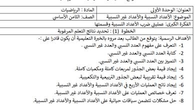 Photo of التحضير بالنظام الجديد لكامل مبحث رياضيات الصف الثامن الفصل الأول