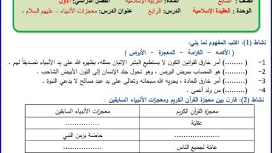 صورة أوراق عمل رائعة لدرس معجزات الأنبياء للتربية الإسلامية سابع الفصل الأول