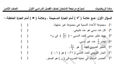 Photo of المراجعة الرائعة والهامة لامتحان نصف الفصل الأول لرياضيات الصف الثامن