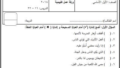 Photo of امتحان شهر ديسمبر لمبحث التربية الإسلامية للصف الأول