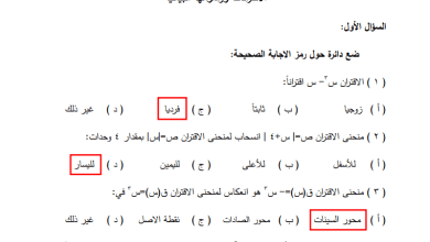 صورة امتحانات رائعة ومجابة لكافة وحدات مبحث الرياضيات للصف العاشر الفصل الأول