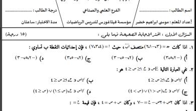 Photo of امتحان حصري ورائع لنهاية الفصل الأول لمبحث رياضيات حادي عشر علمي