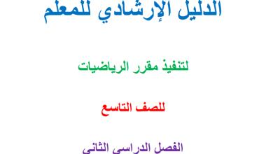 Photo of دليل المعلم لتنفيذ مبحث الرياضيات للصف التاسع الفصل الثاني