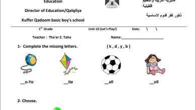 صورة نماذج امتحانات رائعة للوحدة 10 لمبحث اللغة الإنجليزية للصف الأول الفصل الثاني