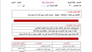 صورة تحضير رائع بالمخرجات لكامل مبحث اللغة العربية للصف السابع الفصل الثاني