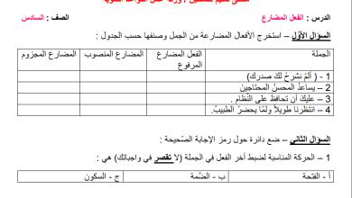 Photo of ورقة عمل حصرية ورائعة للفعل المضارع لقواعد اللغة العربية سادس الفصل الثاني