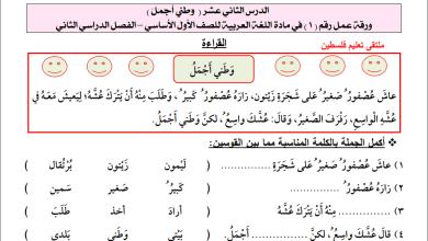 صورة أوراق عمل رائعة لدرس وطني أجمل لمبحث اللغة العربية أول الفصل الثاني