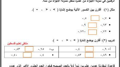 صورة أوراق عمل رائعة للمقارنة الصحيحة للكسور والأعداد العشرية لبمحث رياضيات رابع