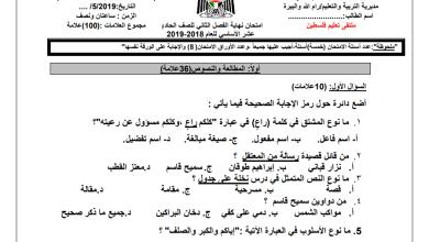 Photo of امتحان حكومة حصري ورائع لنهاية الفصل الثاني لمبحث اللغة العربية للحادي عشر