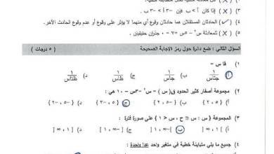 صورة امتحان وكالة مجاب ومصور لنهاية الفصل الثاني لمبحث الرياضيات للصف التاسع 2