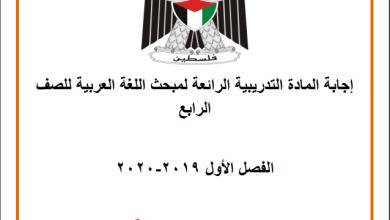 صورة إجابة المادة التدريبية الرائعة لمبحث اللغة العربية للصف الرابع الفصل الأول