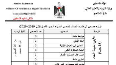 صورة خطة الوزارة لعام 2019-2020 لمبحث الرياضيات للصف الخامس الفصل الأول