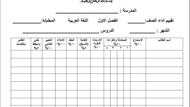 Photo of سجل تقييم أداء الطلبة في مهارات اللغة العربية للصف الثالث الفصل الأول