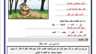Photo of أوراق عمل رائعة ومجابة لدرس الأسد والفأر لمبحث اللغة العربية للصف الثاني