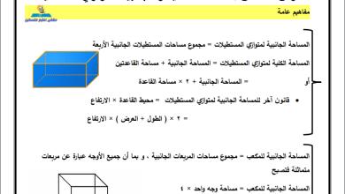 Photo of أوراق عمل حصرية للمساحة الكلية والجانبية لمتوازي المستطيلات لرياضيات خامس