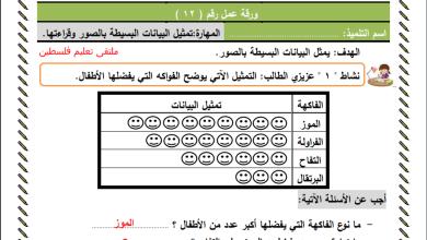 Photo of ورقة عمل رائعة لتمثيل البيانات البسيطة بالصور وقراءتها لرياضيات الصف الثاني