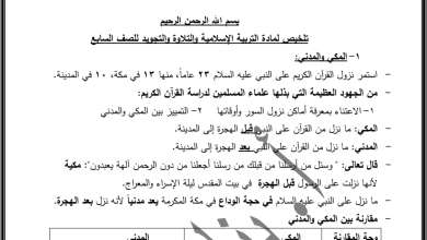 Photo of كل ما يلزم طالب الصف السابع لتقديم امتحان نهاية الفصل الأول للتربية الإسلامية