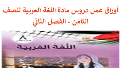 Photo of أوراق عمل كافة دروس اللغة العربية مع القواعد والبلاغة للصف الثامن الفصل الثاني