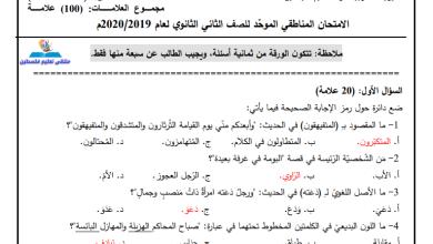 صورة امتحانات تجريبية مجابة وهامة لكافة المديريات لمبحث اللغة العربية للورقتين للتوجيهي
