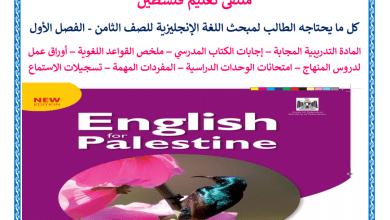 صورة كل ما يحتاجه الطالب من ملفات تعليمية لمبحث اللغة الإنجليزية للصف الثامن الفصل الأول